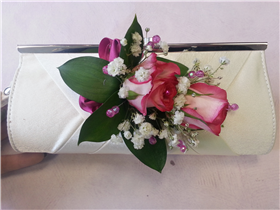 double rose and bead bag corsage
