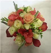 coral and ivory bridesmaids bouquet
