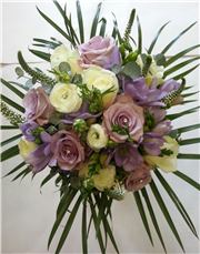 rose and freesia ivory and lilac bouquet