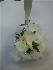 phalaenopsis orchid, rose and crystal bag corsage