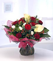Extravagant Rose & Anthurium  Aqua Bouquet