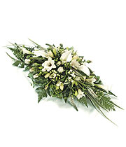 All White Delicate Casket Spray