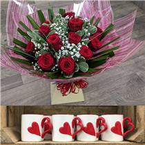 Dozen red rose bouquet with free heart mug