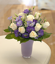 lilac/cream coloured vase display