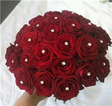 Bridal compact red rose and diamante