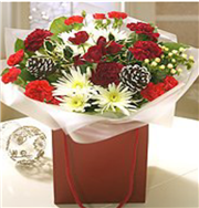 red and cream festive bag bouquet