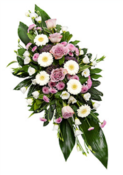 white and mauve double ended funeral spray