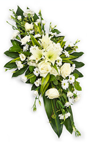 all white double ended funeral spray