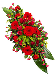 red double ended funeral spray