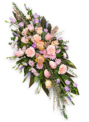 pink and lilac double ended funeral spray