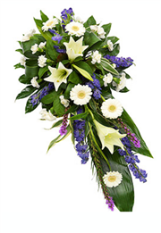 white and purple single ended funeral spray