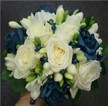 Teal, White Roses And freesia Bouquet
