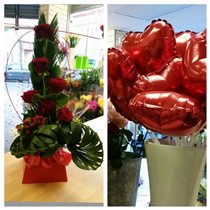 "six red rose modern with free 9"" balloon"