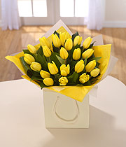 Yellow tulip bag bouquet