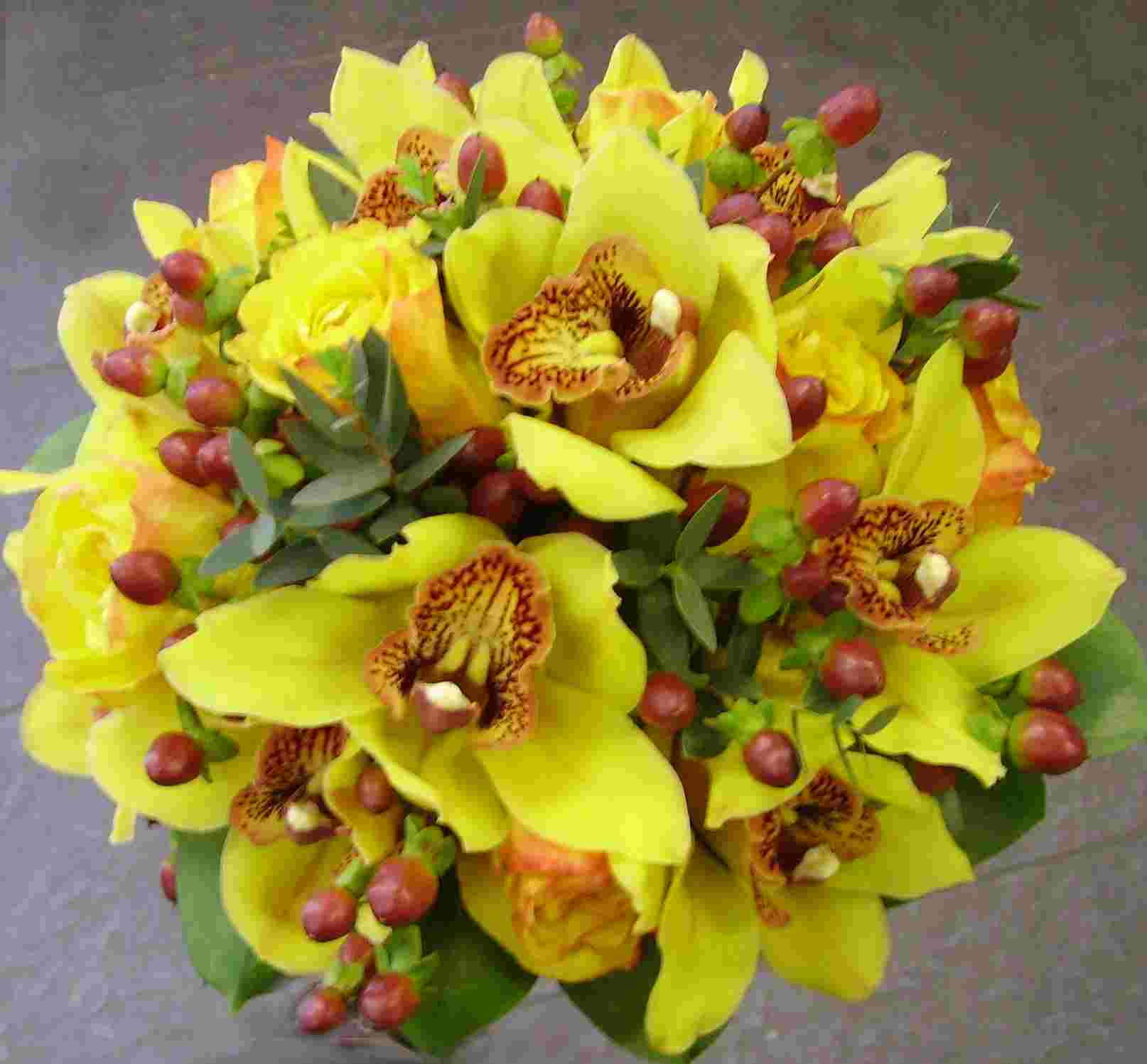 Eileen Jenkins ORCHID AND HYPERICUM HANDTIED