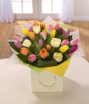 Eileen Jenkins Rainbow Mix Tulip bag bouquet