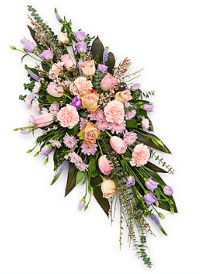 Eileen Jenkins pink and lilac double ended funeral spray